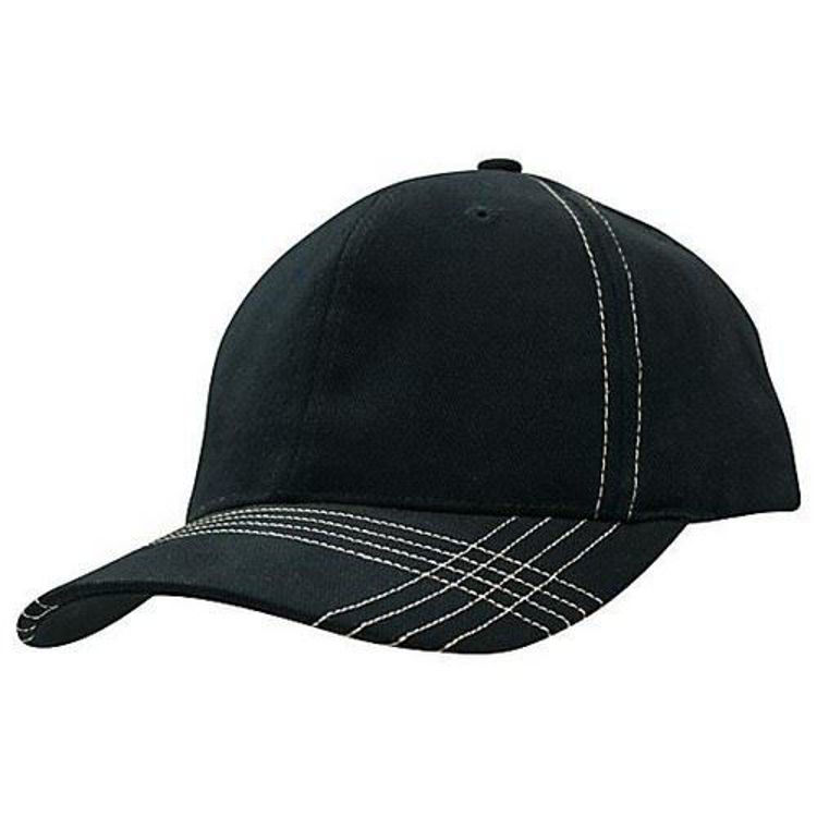 Picture of Brushed Heavy Cotton Cap with contrast cross stitch on peak