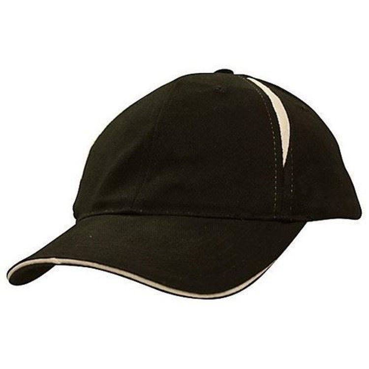 Picture of Brushed Heavy Cotton Cap with crown inserts & sandwich