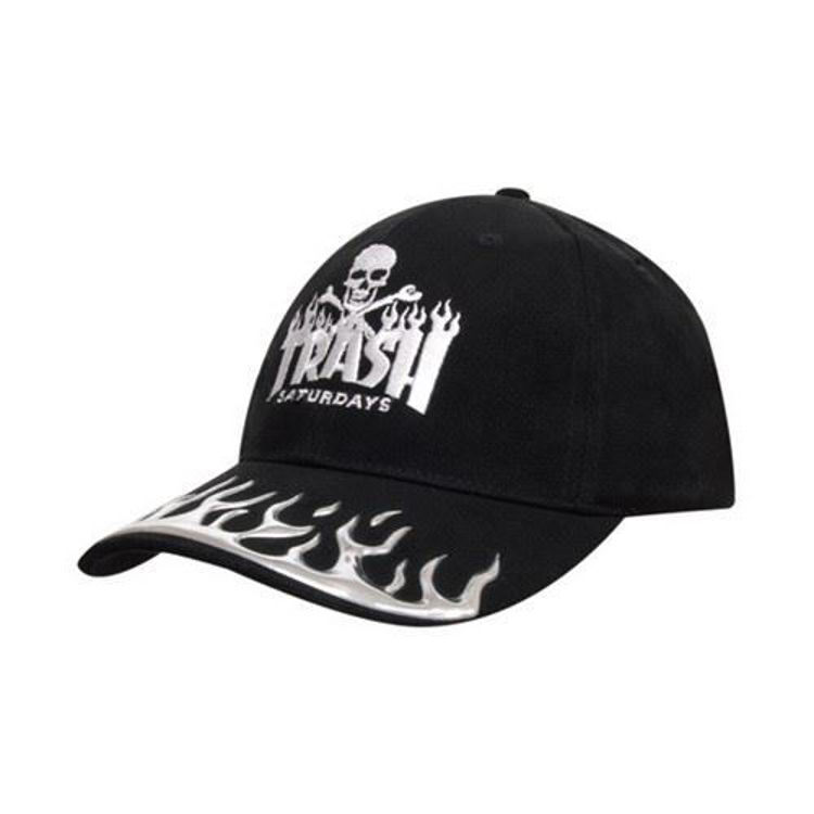 Picture of Brushed heavy Cotton Cap With Liquid Metal Flames