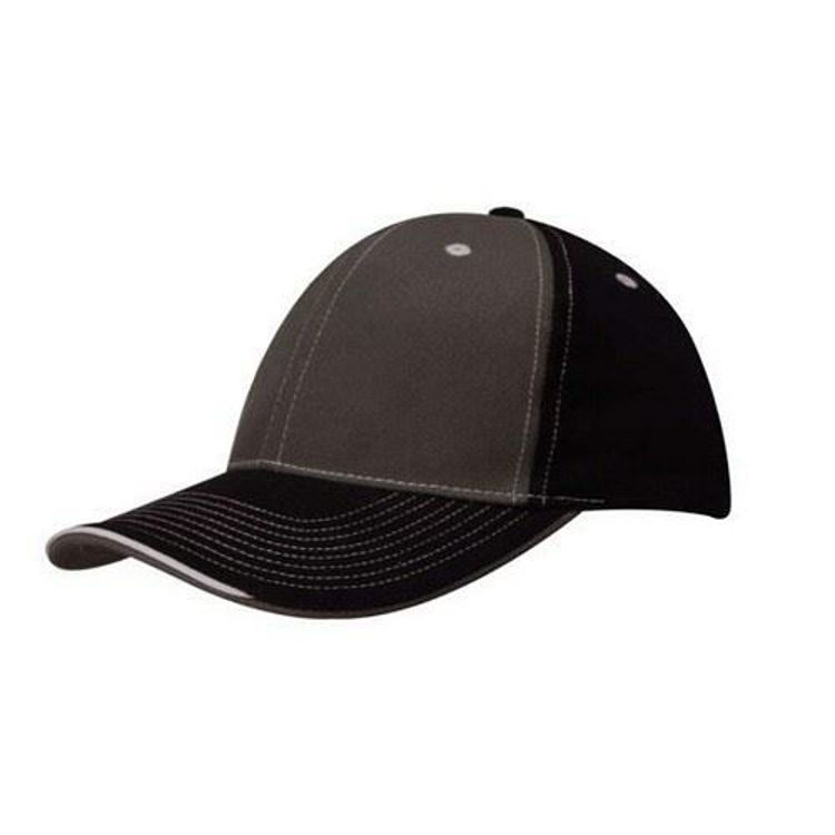 Picture of Brushed Heavy Cotton Two Tone Cap with Contrasting Stitching and Open Lip Sandwich