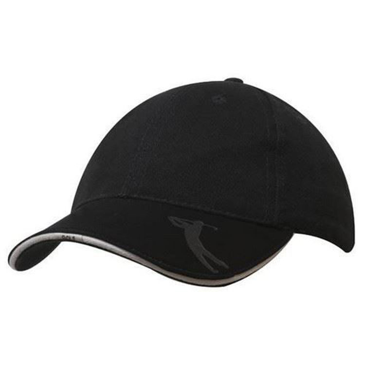 Picture of Brushed Heavy Cotton with Embossed Pu Peak Golf Cap